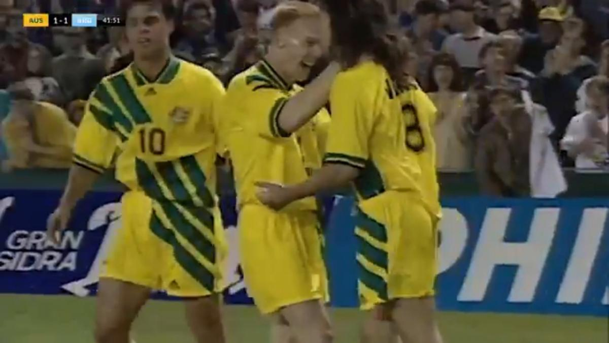Brothers Tony and Aurelio Vidmar combine for Socceroos equaliser v Argentina in FIFA World Cup 1994 play-off