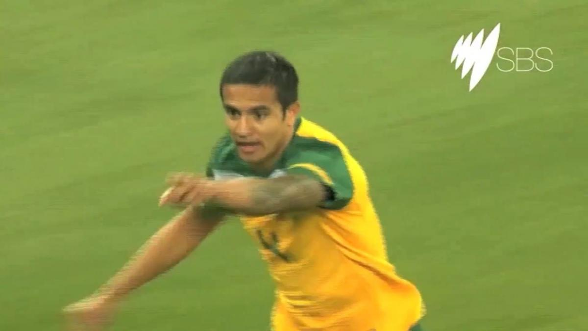 Tim Cahill gives the Socceroos the lead over Serbia at FIFA World Cup 2010