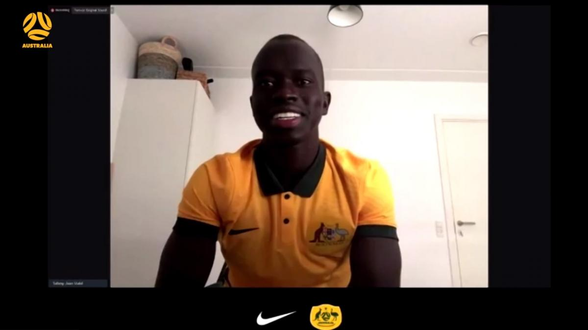 Awer Mabil on green shorts for Nike National Team