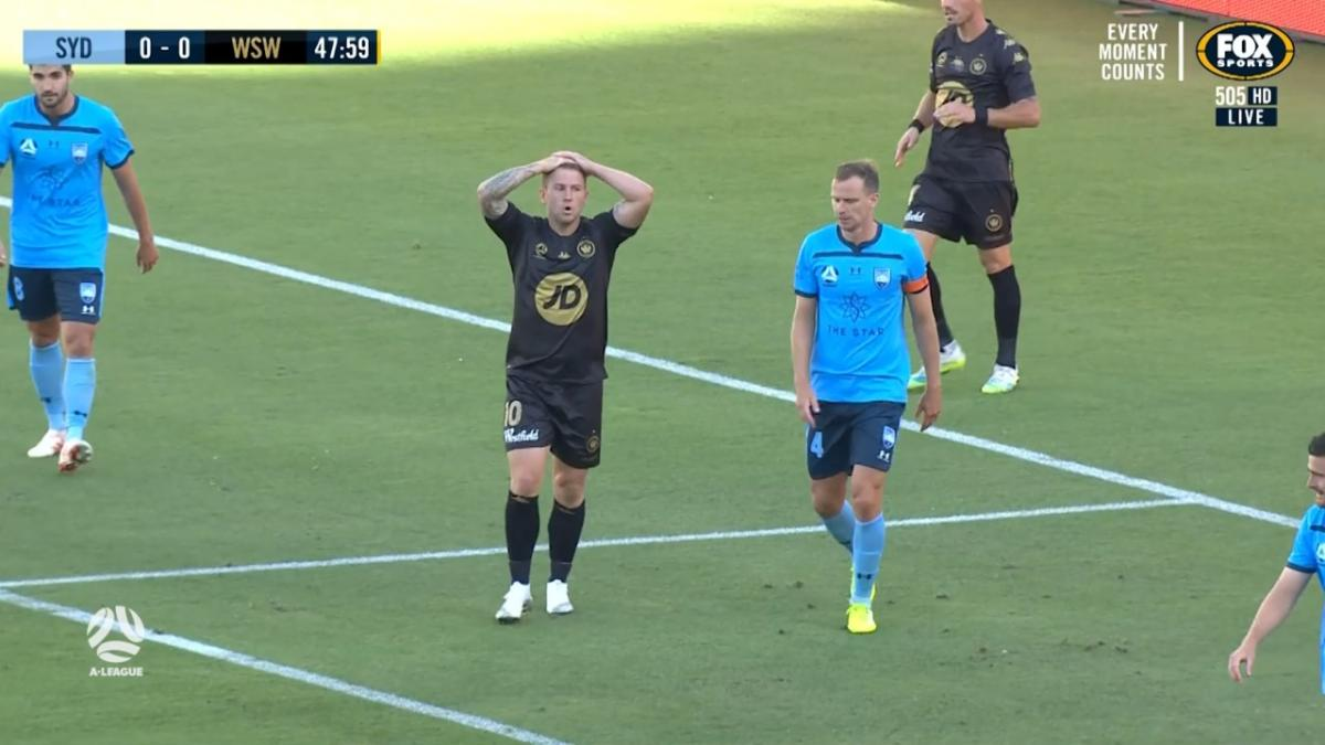 CHANCE: Cox - Wanderers striker finds the wrong side of the net