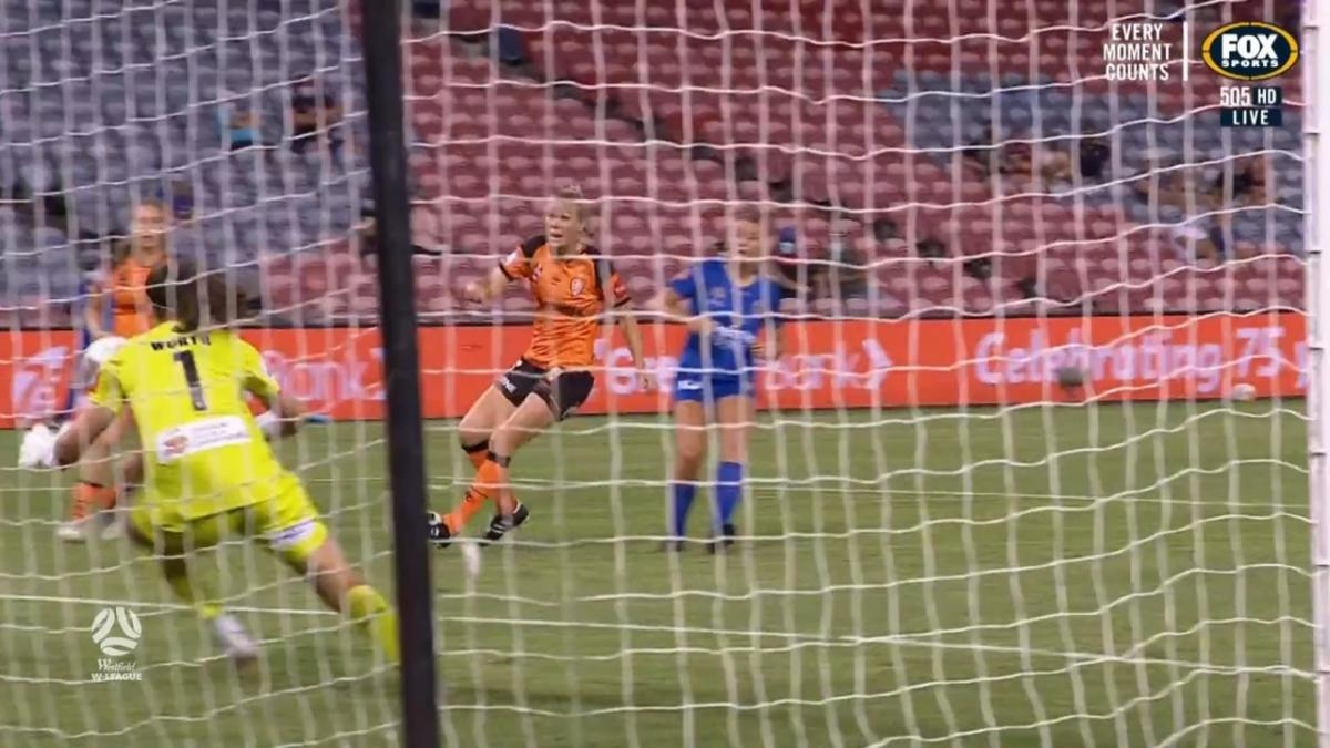 SAVE: Worth - Brisbane's keeper makes a superb late stop to keep it level