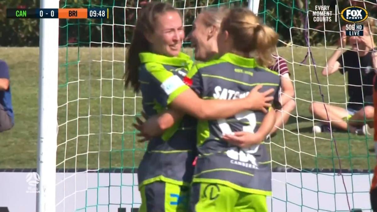 GOAL: Nikki Flannery squeezes Canberra ahead
