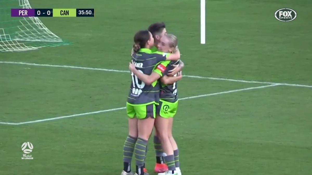 GOAL: Flannery - Canberra open the scoring at Viking Park