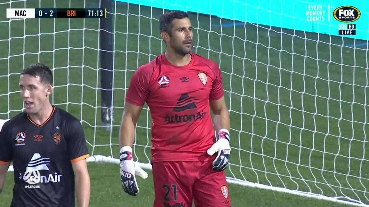 SAVE: Young  -Brisbane keeper on the mark again