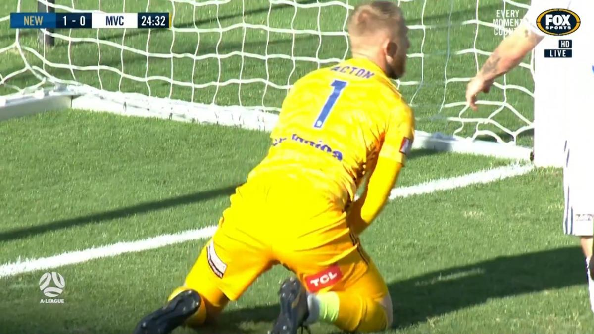 SAVE: Acton - Victory keeper showing off his reflexes