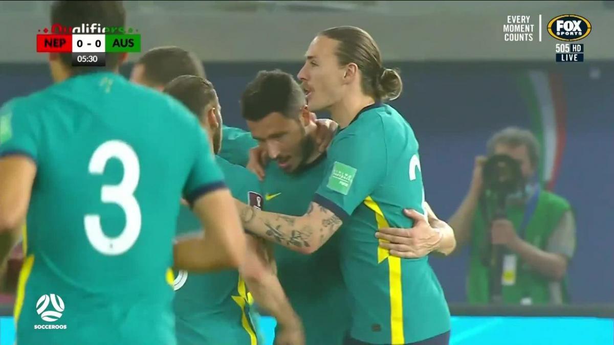 GOAL: Leckie - Socceroos lead inside seven minutes