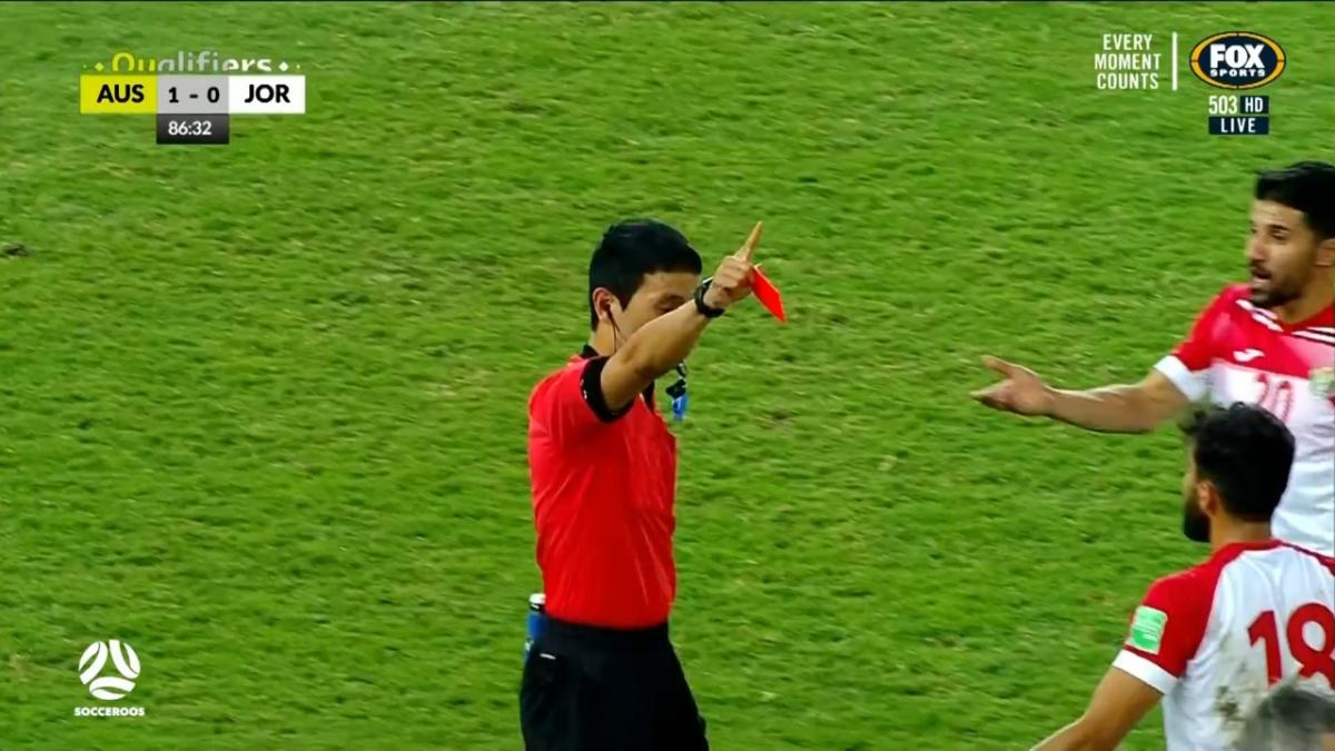 RED CARD: Al-Taamari - Jordan down to ten