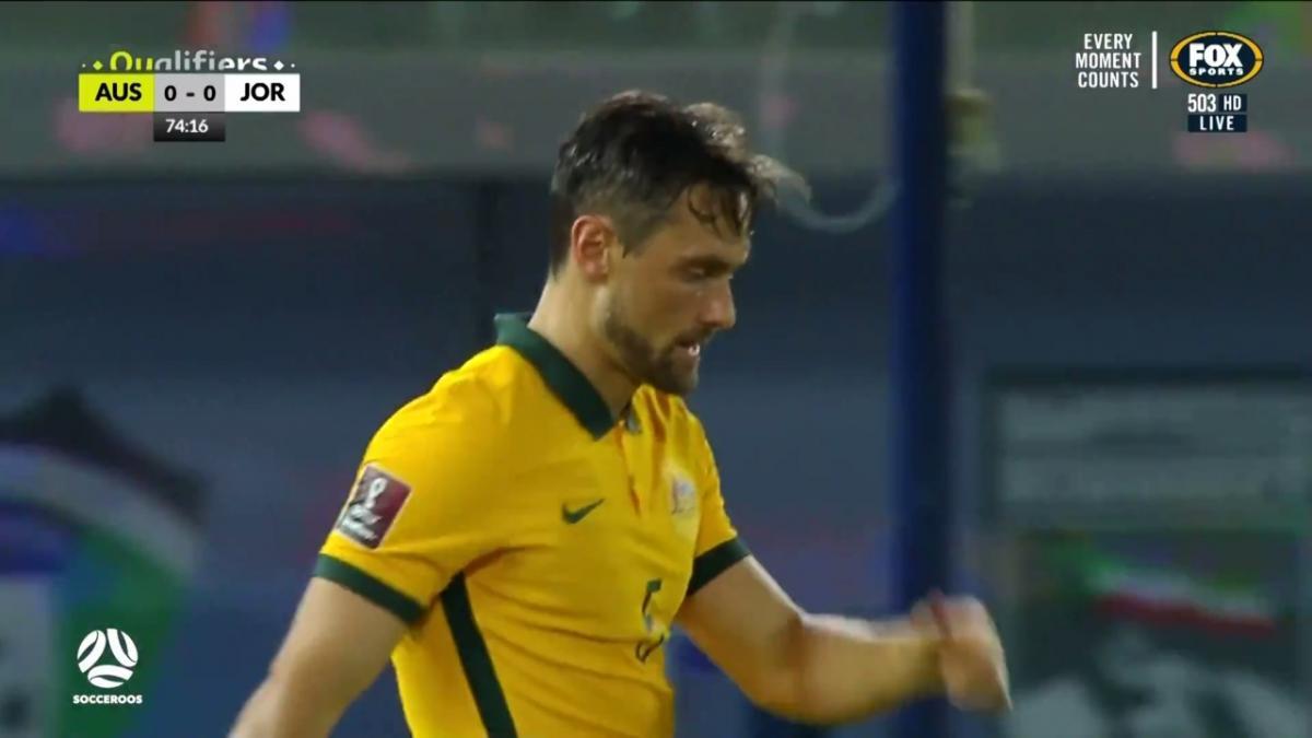 James Holland crashes a shot into the post    Highlights   Socceroos v Jordan   FIFA World Cup qualifier