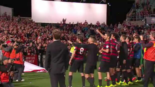Wanderers celebrate with fans