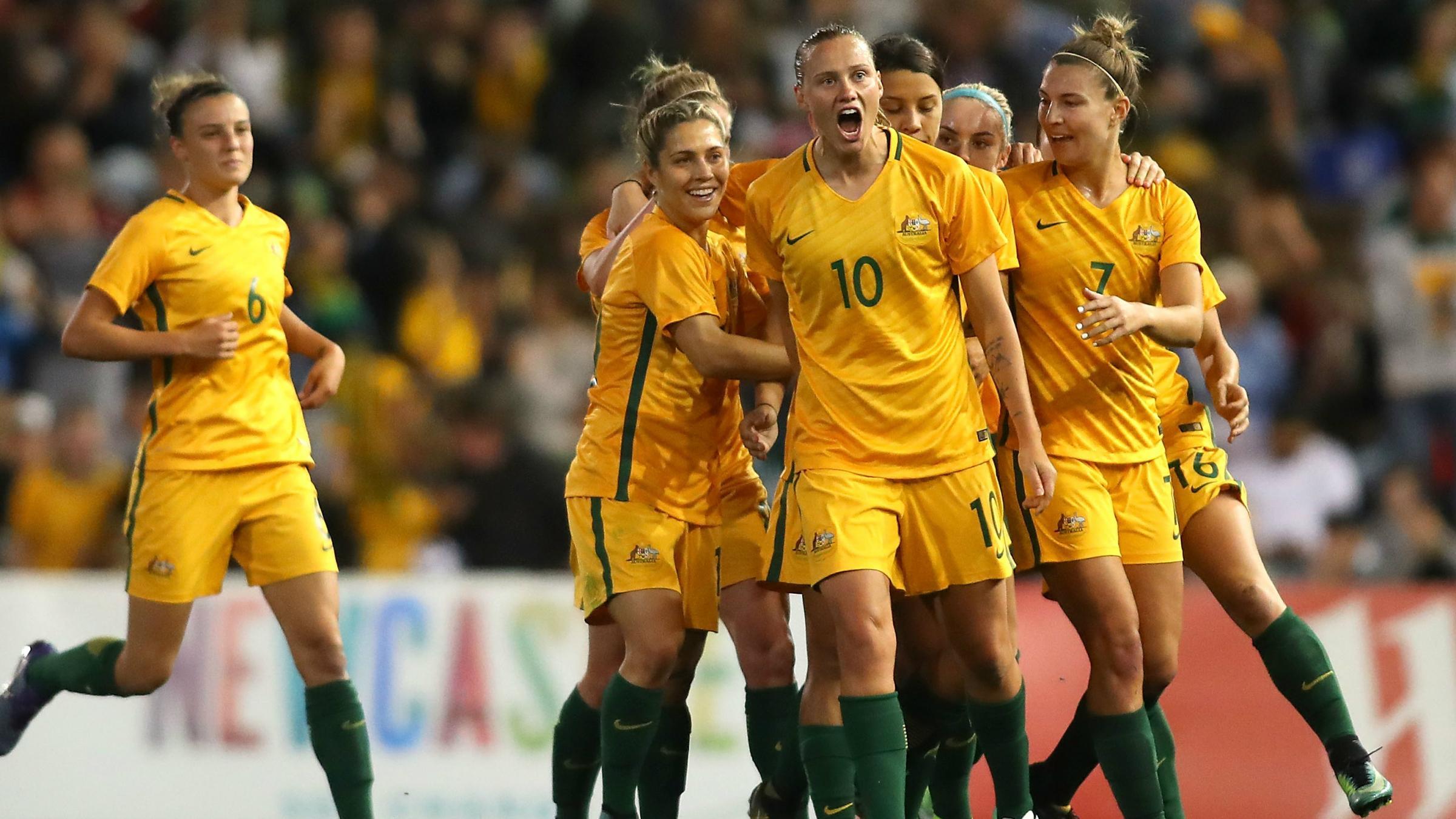The Westfield Matildas celebrate a goal in he 3-2 win over Brazil in Newcastle.