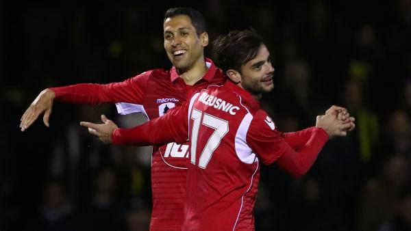 Adelaide United's Karim Matmour (left) nearly scored a stunning strike in the FFA Cup on Wednesday night.