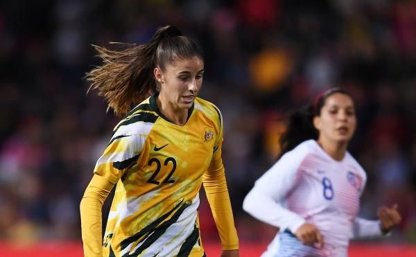 Amy Harrison (Western Sydney) played for the Matildas on Tuesday evening