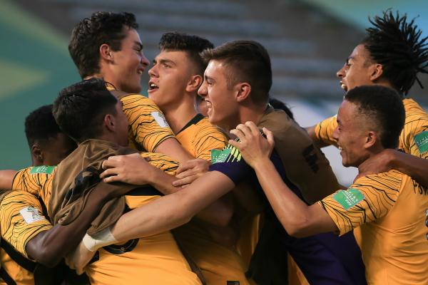 The Joeys celebrate their sensational win against Nigeria