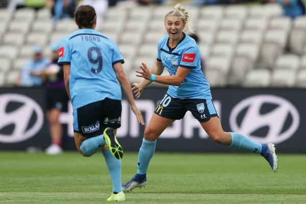 What a return to the Sky Blues for Remy Siemsen, celebrating one of her two goals against Victory