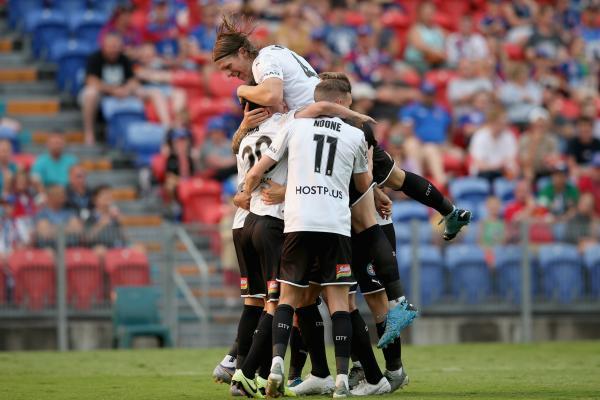 Melbourne City celebrate a goal