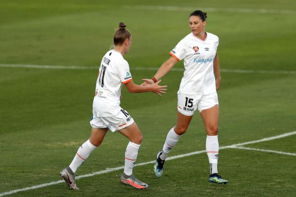 Emily Gielnik celebrates with Sharn Freier for Brisbane Roar