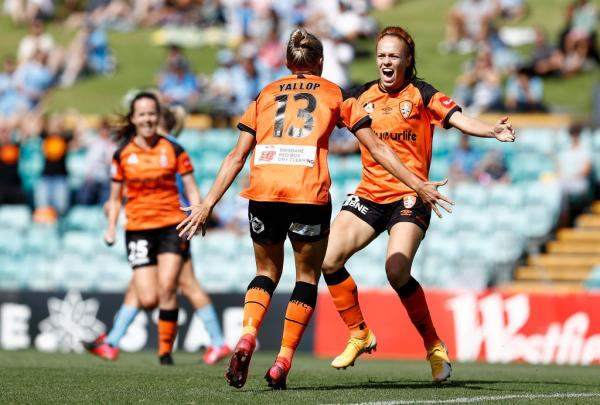 Tameka Yallop and Mariel Hecher celebrate a Brisbane Roar goal