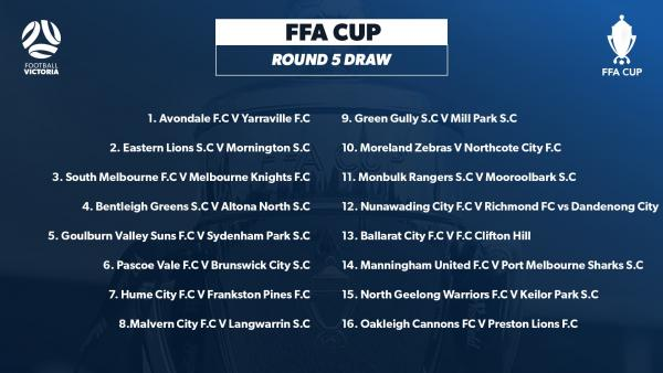 FFA Cup Round 5 fixtures in Victoria