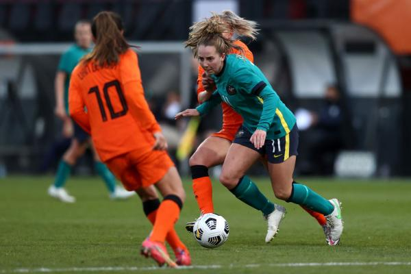 Dylan Holmes on the ball vs Netherlands