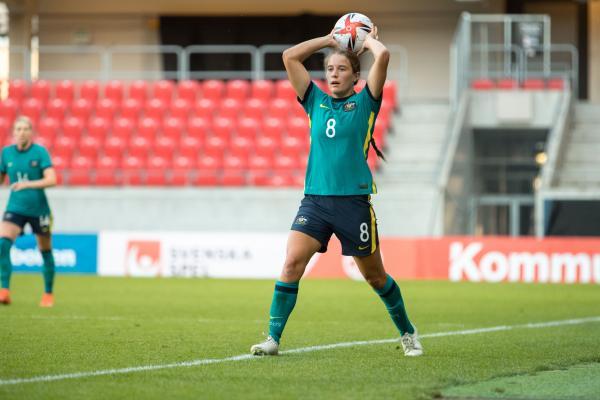 Courtney Nevin in Matildas game against Sweden, June 2021