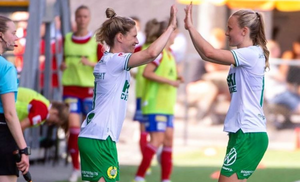 Elise Kellond-Knight is substituted on for Hammarby after her ACL injury (instagram)