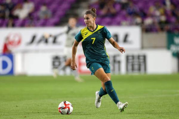 Stephanie Catley of Australia in action during the women's international friendly match between Japan and Australia at Sanga Stadium by Kyocera on July 14, 2021 in Kameoka, Kyoto, Japan. (Photo by Masashi Hara/Getty Images)
