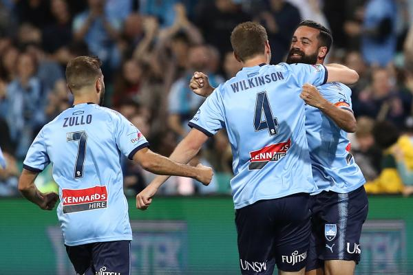 Alex Brosque celebrates his goal against the Wanderers in Round 2.