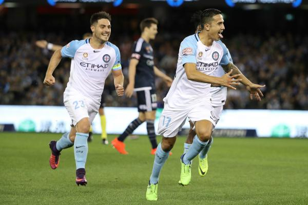 Tim Cahill scored a stunner in last season's Melbourne Derby at Etihad.