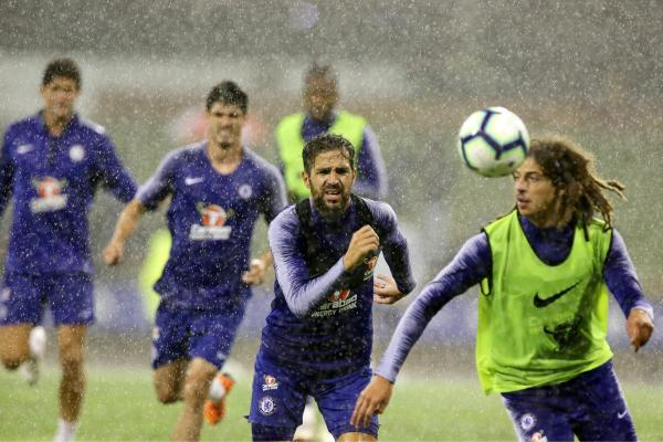 Cesc Farbegas in action during the session.