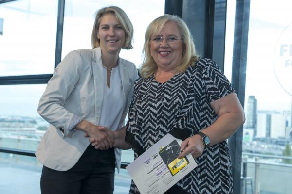 Emma Highwood and rebel Female Football Week Award winner General Manager - Linda Cerone
