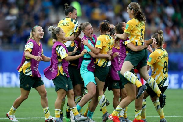 Full-time! The Matildas celebrate a famous win