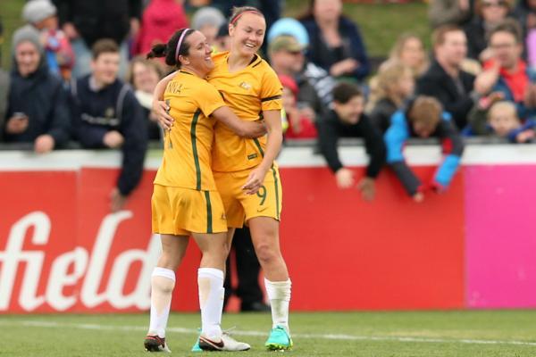 Caitlin Foord scored a double for the Westfield Matildas in Ballarat.