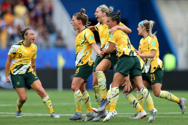 Comeback complete! The Matildas celebrate going in front after the VAR awards Monica's own goal