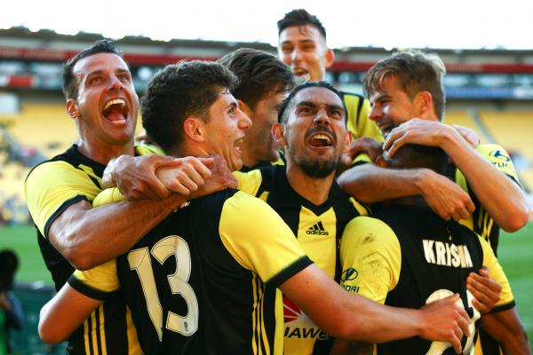 Wellington Phoenix celebrate a goal.