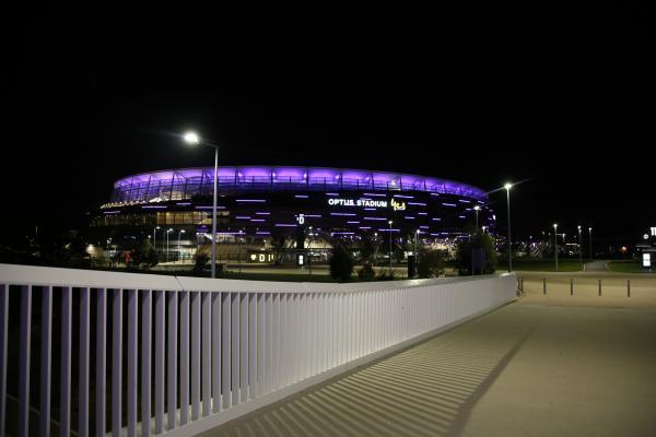 Optus Stadium lit up purple for Hyundai A-League Grand Final