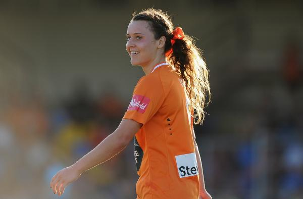Hayley Raso all smiles during her previous stint at Brisbane Roar.