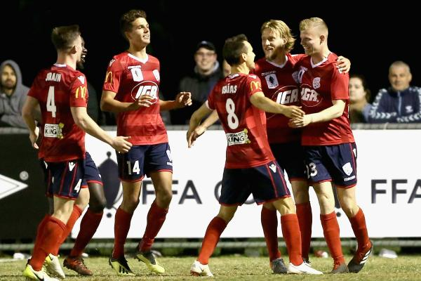 Adelaide United players celebrate Jordan Elsey's goal.