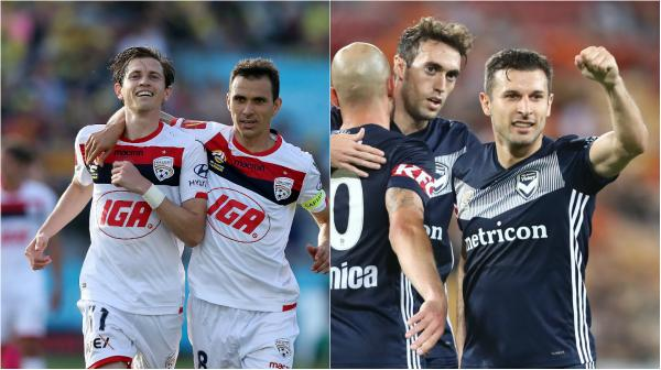 Adelaide United v Melbourne Victory celebrate