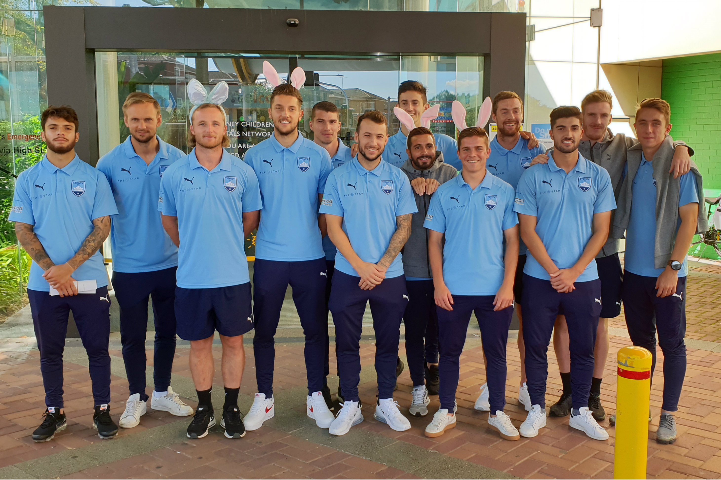Sydney FC players got in the spirit of Easter when they visited the Sydney Children's Hospital
