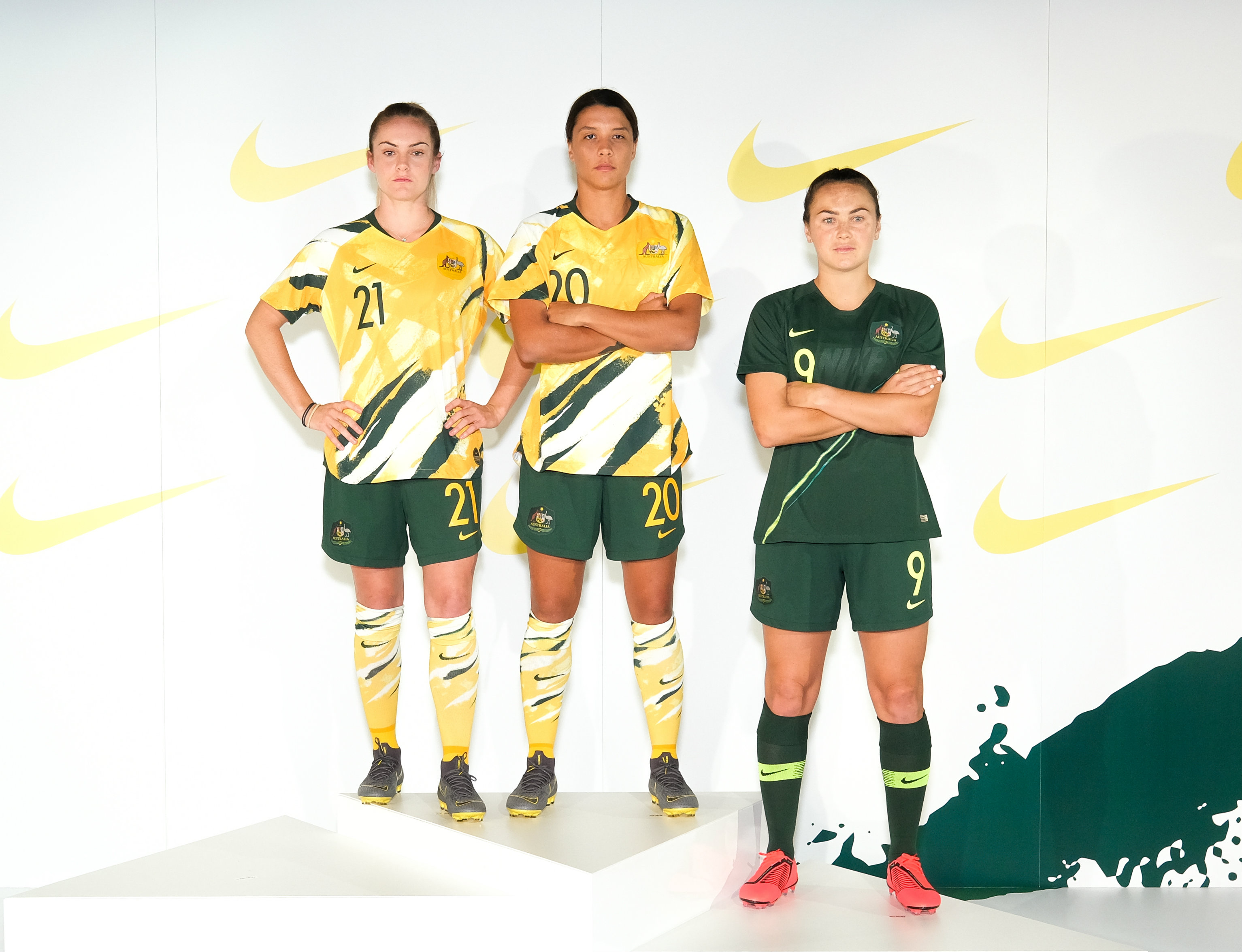 Ellie Carpenter, Sam Kerr and Caitlin Foord model the new Westfield Matildas kit.