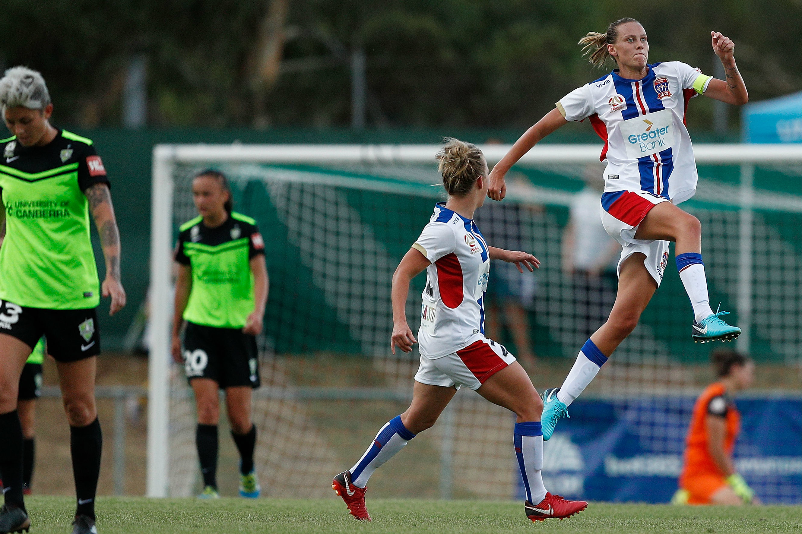 Emily van Egmond bagged a brace in Newcastle's big win over Canberra.