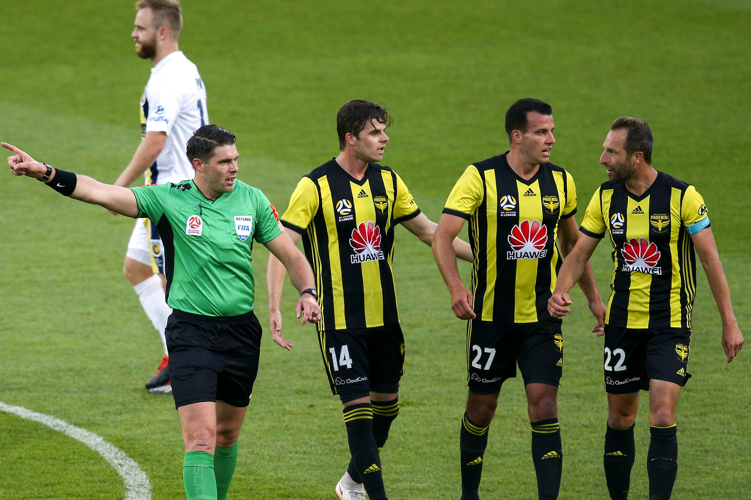 Wellington Phoenix question a decision by the referee.