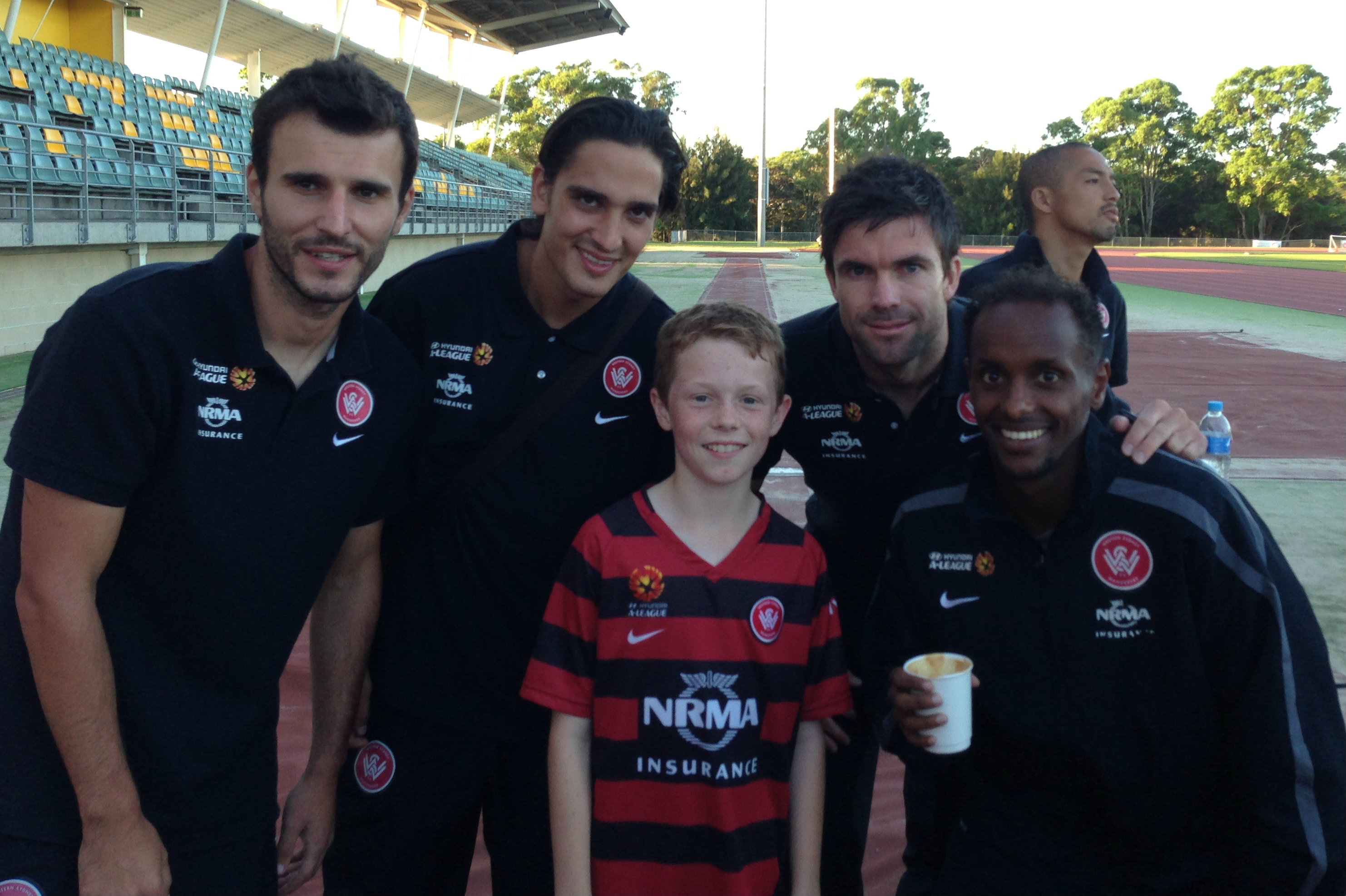 Daniel Wilmering with former Wanderers players Labinot Haliti, Jerome Polenz, Michael Beauchamp and Youssef Hersi
